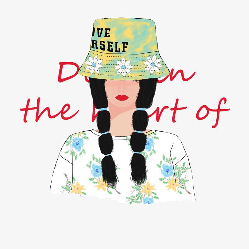 双辫女孩字母印花矢量图服装裁片T恤烫图印花花型素材-POP花型网