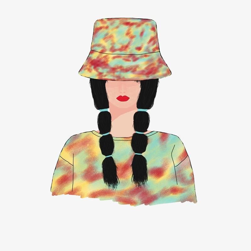 双辫女孩印花矢量图服装裁片T恤烫图印花花型素材-POP花型网
