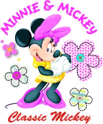 卡通动漫米妮字母花卉印花矢量图服装裁片T恤烫图印花花型素材-POP花型网