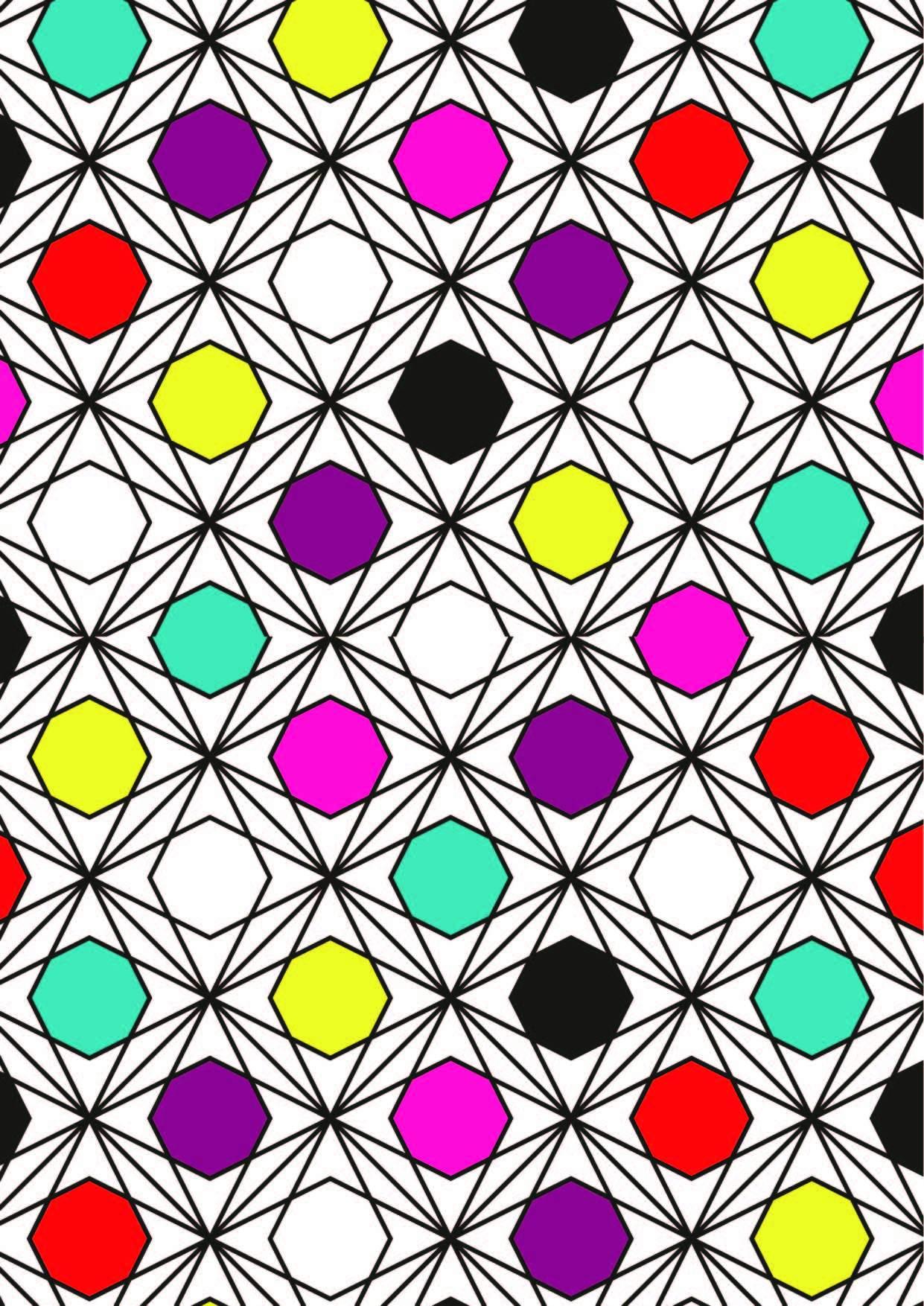 多彩几何图案拼接印花矢量图服装纺织面料数码印花花型素材-POP花型网