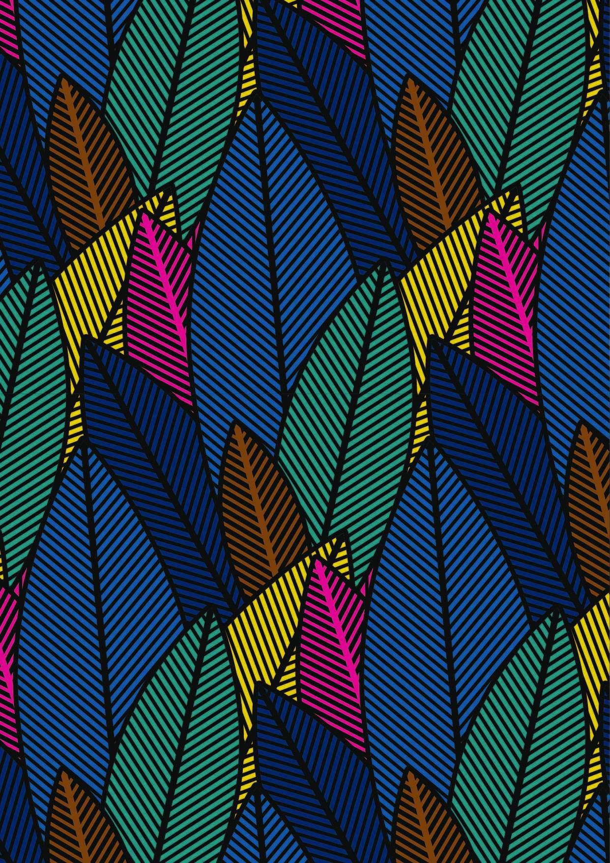 几何线条拼接植物叶子印花矢量图服装纺织面料数码印花花型素材-POP花型网