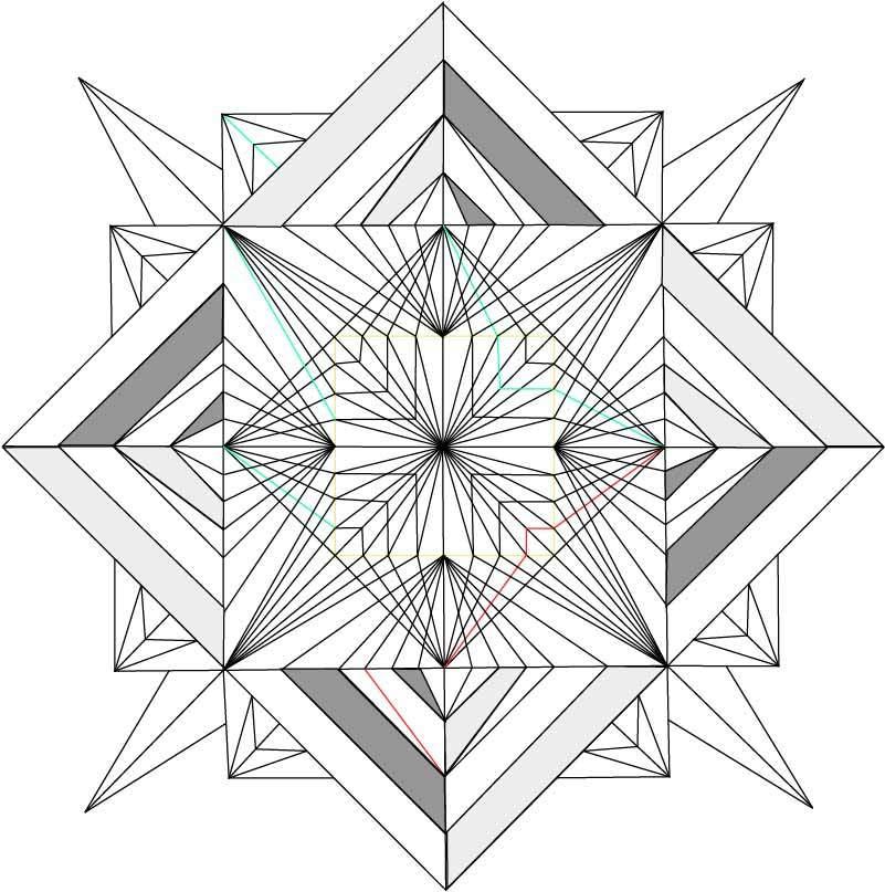 几何线条拼接图案印花矢量图服装裁片T恤烫图印花花型素材-POP花型网