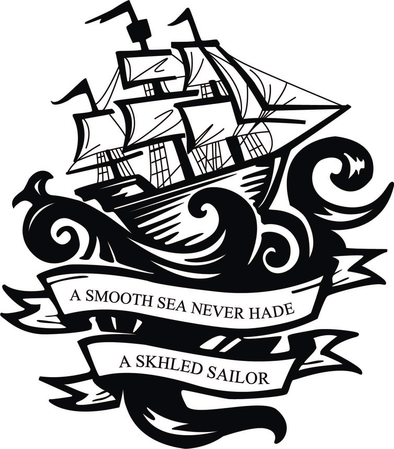 几何海浪帆船字母印花矢量图服装裁片T恤烫图印花花型素材-POP花型网