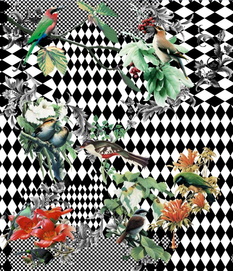 几何图案马赛克飞鸟印花图案服装纺织数码印花花型素材-POP花型网