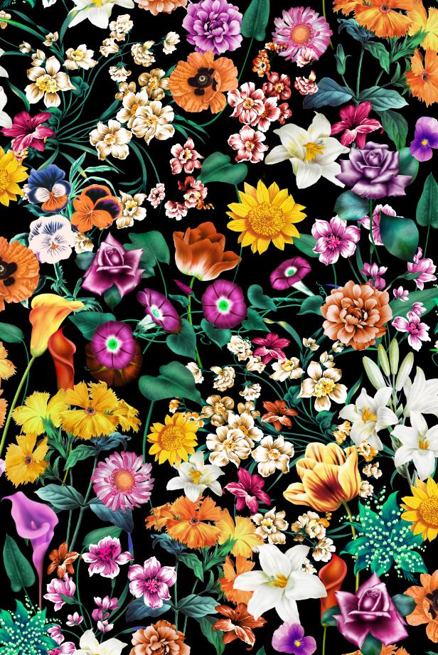 植物花卉印花图案服装纺织面料数码印花花型素材-POP花型网