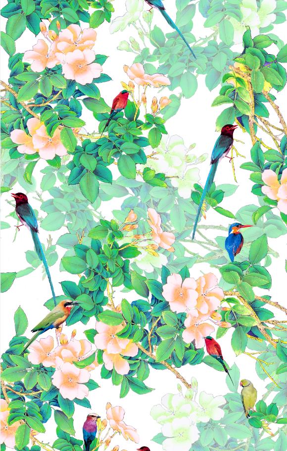 几何图案植物飞鸟印花图案服装纺织数码印花花型素材-POP花型网