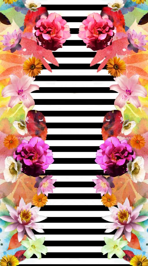 几何黑白条子花卉印花图案服装纺织面料数码印花花型素材-POP花型网