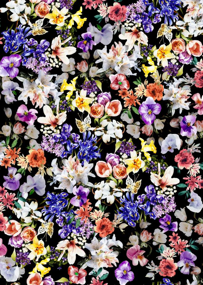 植物花卉杜鹃花印花图案服装纺织面料数码印花素材-POP花型网