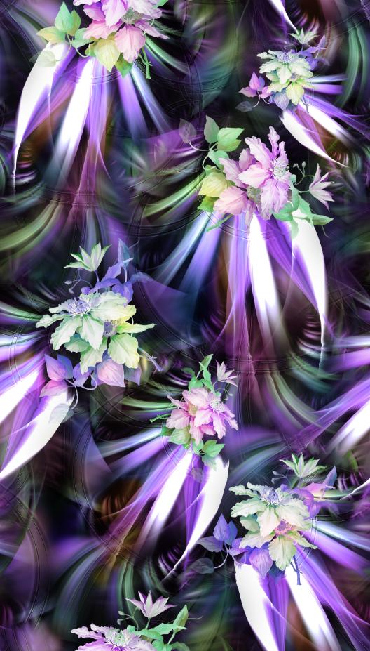 植物花卉印花图案服装纺织面料数码印花图案素材-POP花型网