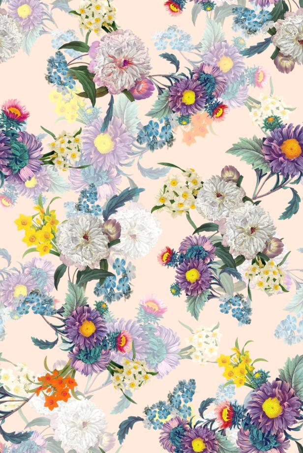 植物邹菊花卉印花图案服装纺织面料数码印花花型素材-POP花型网