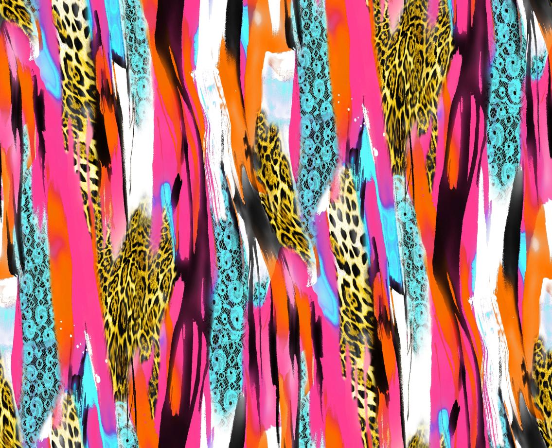 几何线条豹纹印花图案服装纺织面料数码印花花型素材-POP花型网