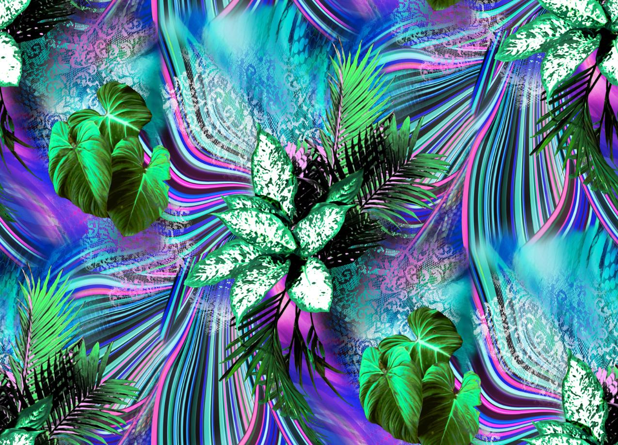 植物花卉印花图案服装纺织面料数码印花素材-POP花型网