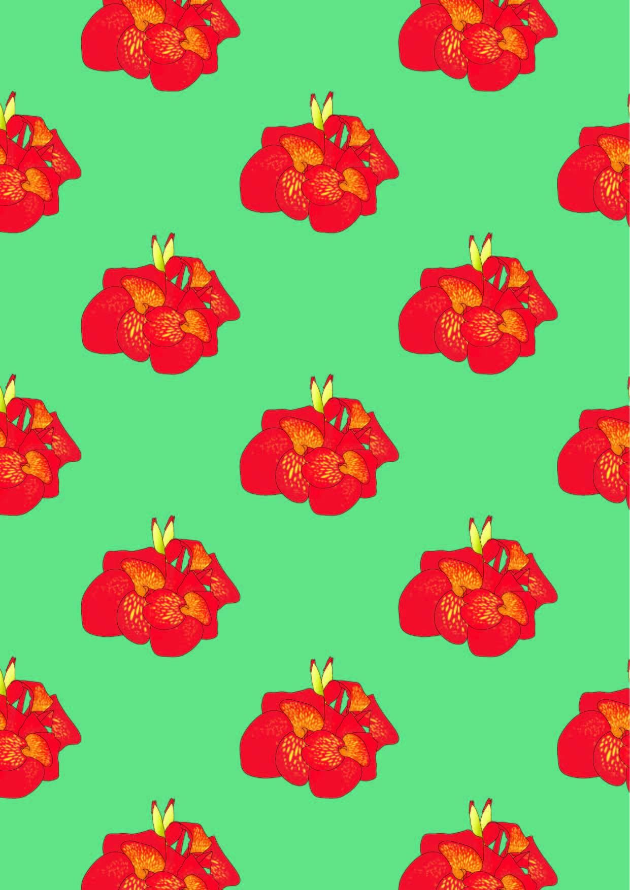 植物花朵君子兰印花图案服装纺织面料数码印花花型素材-POP花型网