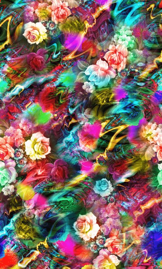霓虹色彩植物玫瑰花印花图案服装纺织面料数码印花素材-POP花型网