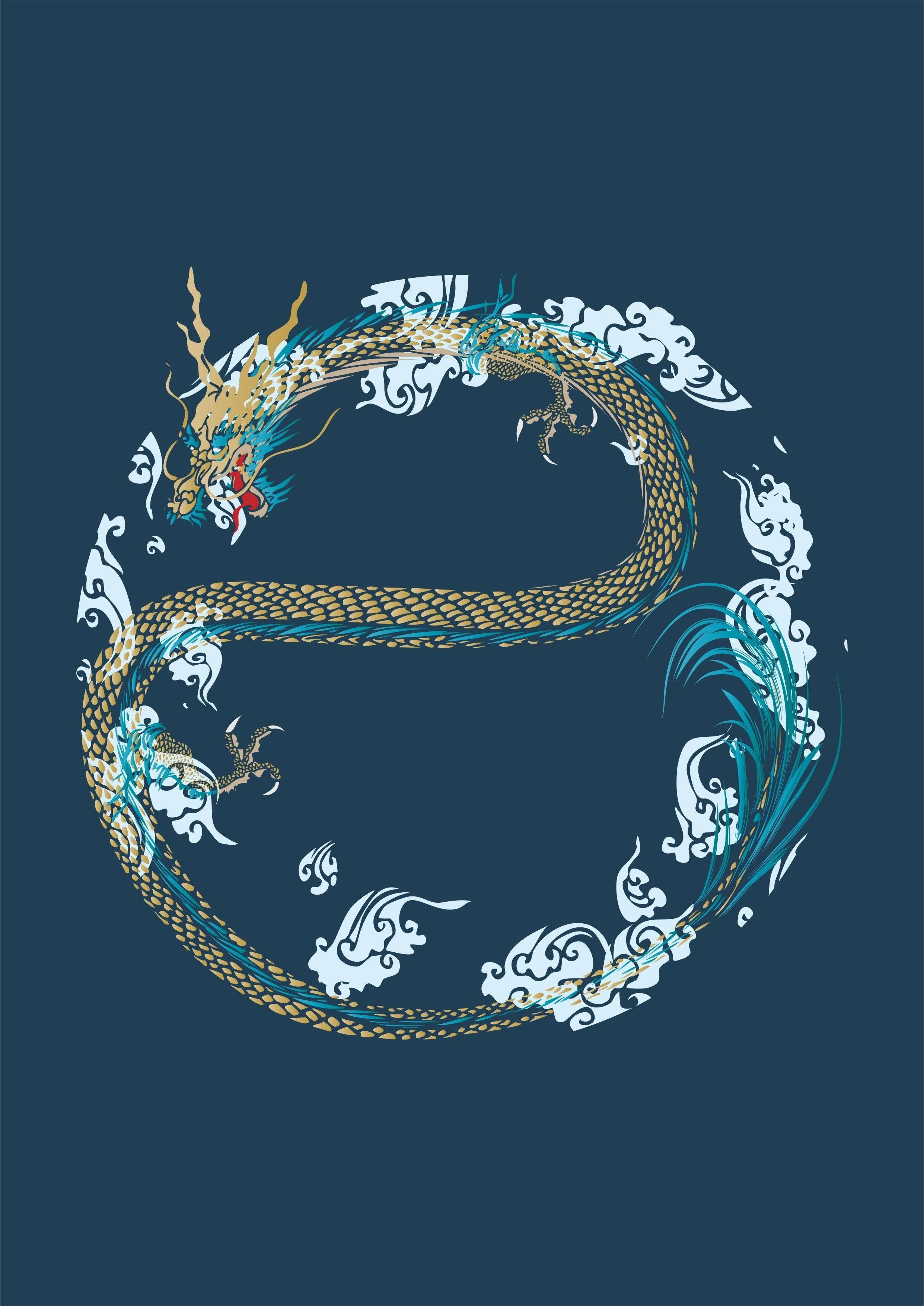 古典云纹飞龙印花矢量图服装裁片T恤烫图印花花型素材-POP花型网