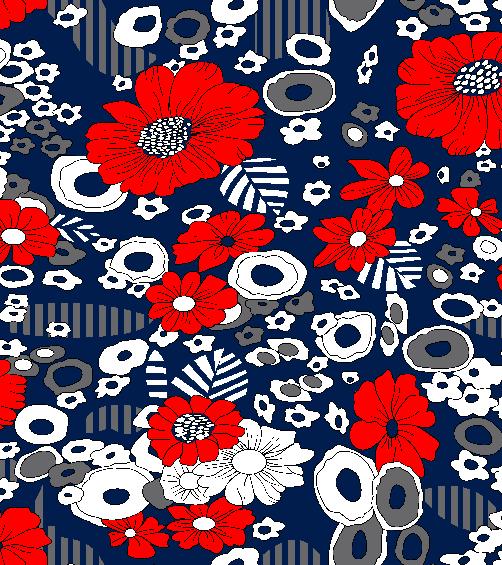 几何图案植物花朵印花矢量图服装纺织面料水印数码印花金昌花型素材-POP花型网