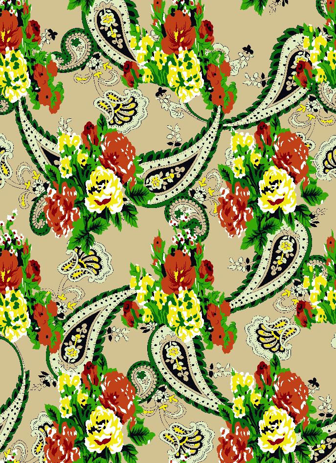 植物花卉腰果印花矢量图服装纺织面料水印数码印花金昌花型素材-POP花型网