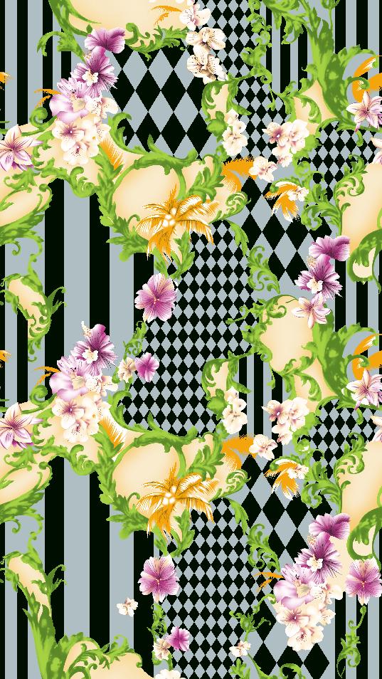植物花卉线条马赛克印花矢量图服装纺织面料水印数码印花金昌花型素材-POP花型网