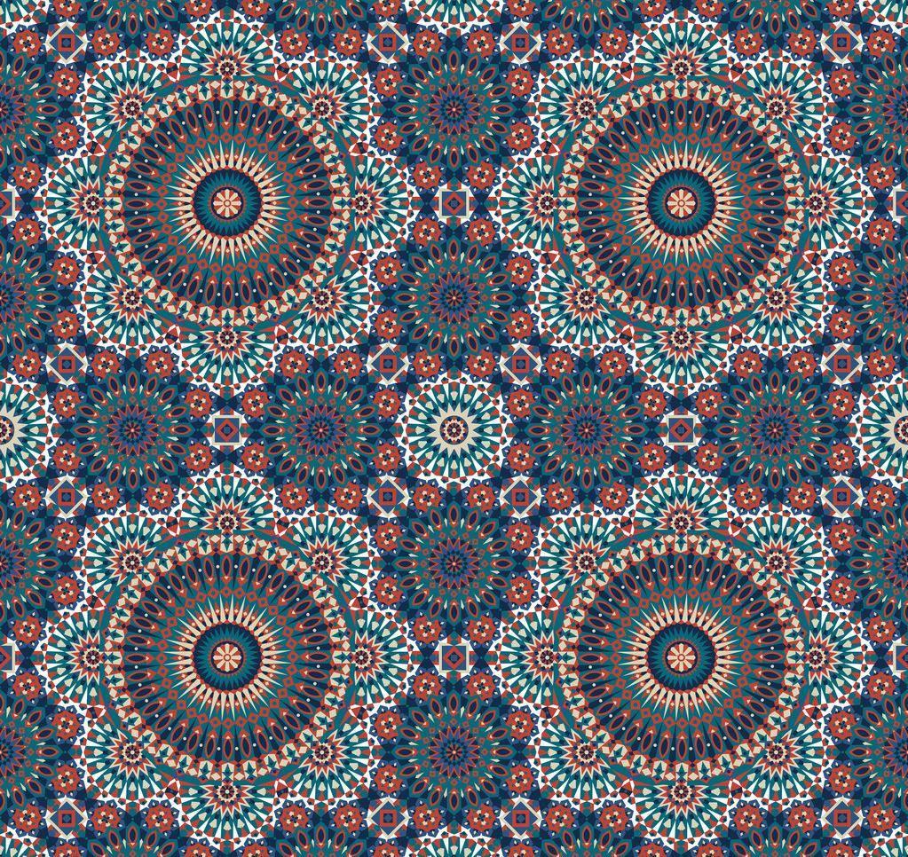 复古几何花纹拼接印花矢量图服装纺织面料数码印花花型素材-POP花型网
