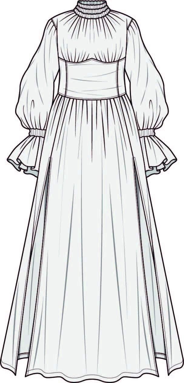 女士长裙设计手稿-POP花型网