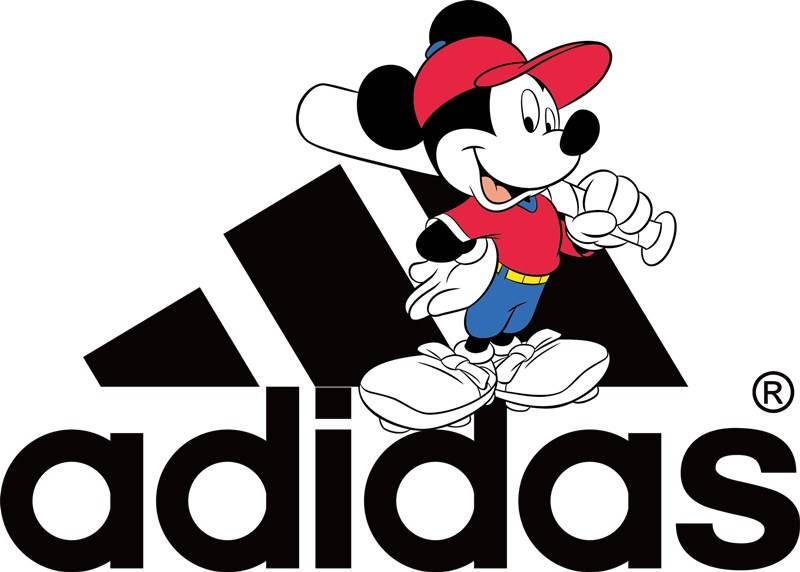 卡通动漫米奇潮牌Adidas字母印花矢量图服装裁片T恤烫图印花花型素材-POP花型网