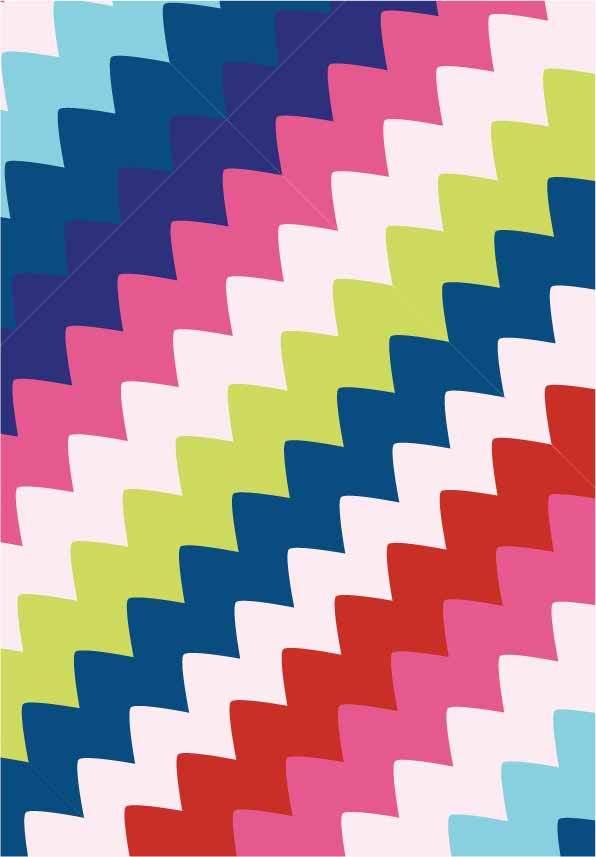 几何多彩波浪图案印花矢量图服装纺织面料数码印花花型素材-POP花型网
