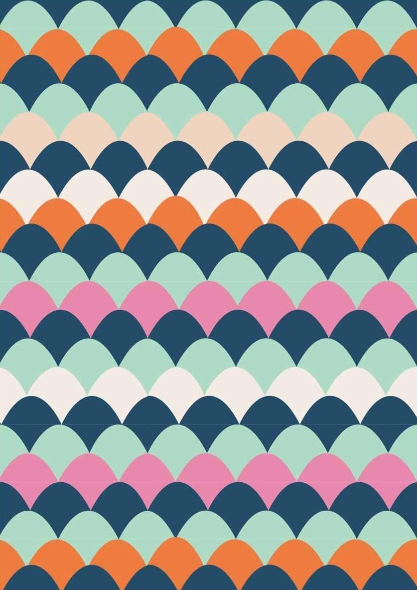 多彩几何波浪图案印花矢量图服装纺织面料数码印花花型素材-POP花型网