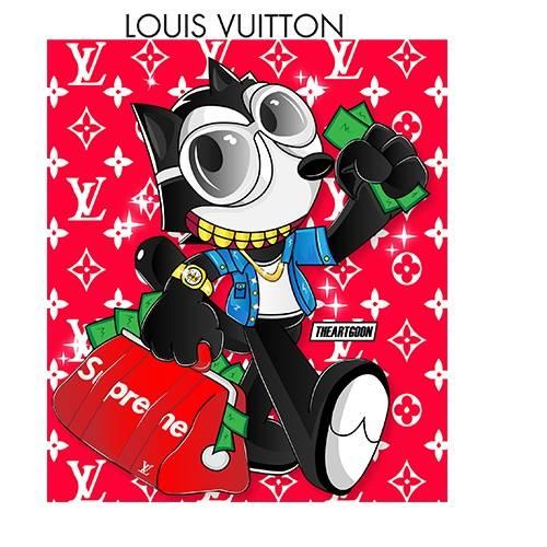卡通动漫人物潮牌supreme大牌LV印花矢量图服装裁片T恤烫图印花花型素材-POP花型网