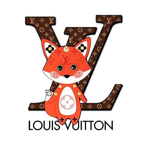 卡通动物小狐狸字母LV潮牌印花矢量图服装裁片T恤烫图印花花型素材-POP花型网