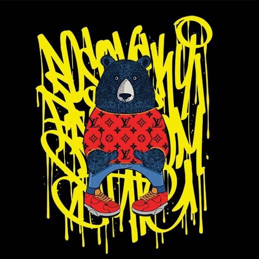 几何线条涂鸦动物熊潮牌LV花纹印花矢量图服装裁片T恤烫图印花花型素材-POP花型网