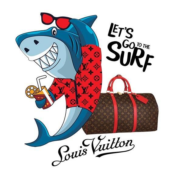 动物鲨鱼潮牌字母LV花纹拼接印花矢量图服装裁片T恤烫图印花花型素材-POP花型网