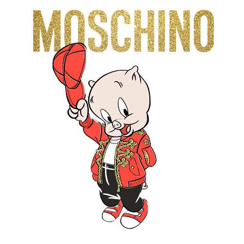 卡通动漫小猪字母潮牌MOSCHINO印花矢量图服装裁片T恤烫图印花花型素材-POP花型网