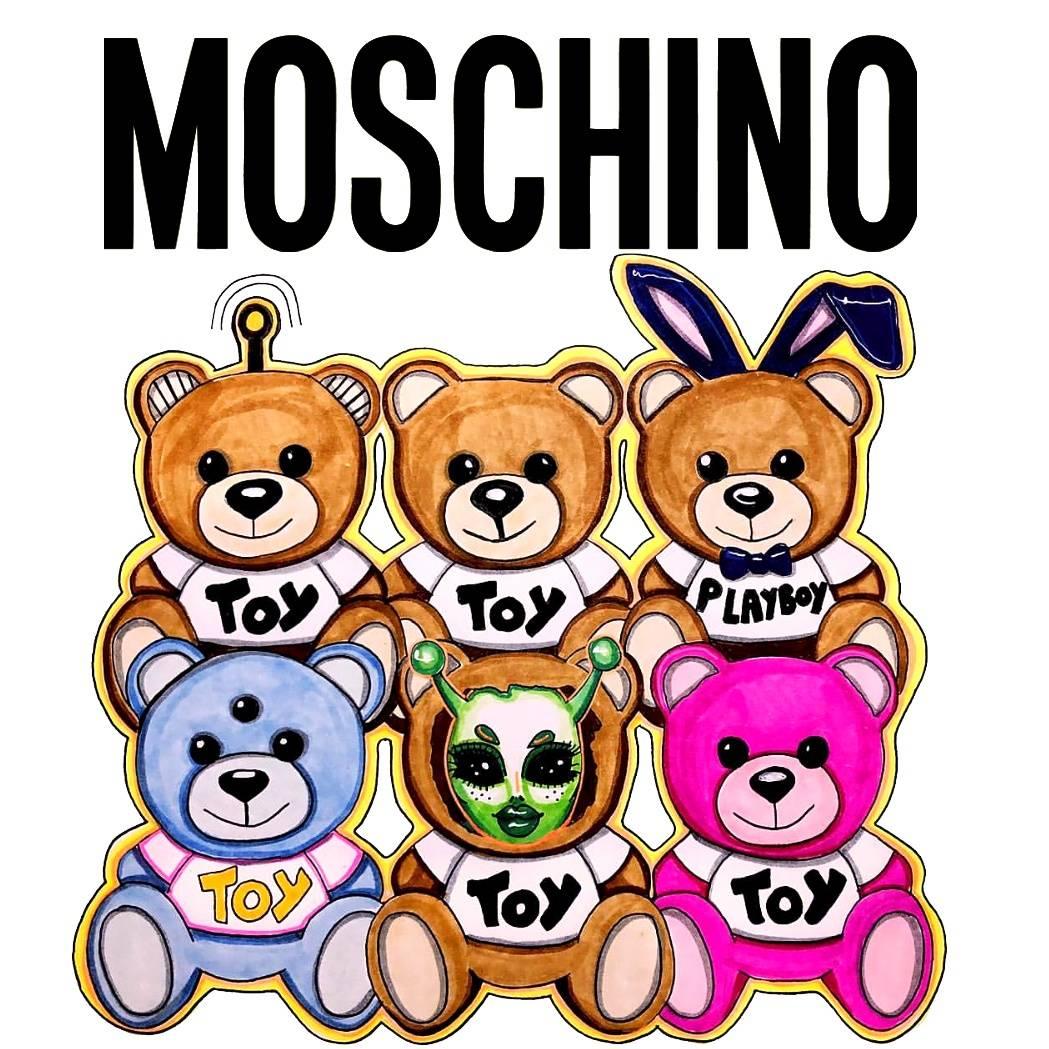 卡通动漫潮牌MOSCHINO熊印花矢量图服装裁片T恤烫图印花花型素材-POP花型网