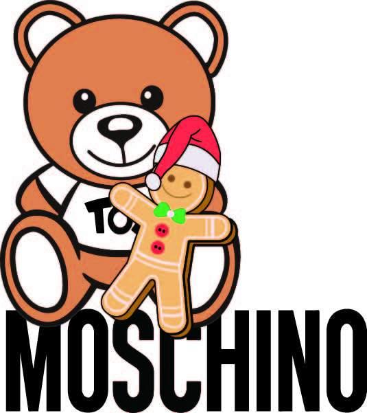 卡通动漫MOSCHINO熊拼接潮牌印花矢量图服装裁片T恤烫图印花花型素材-POP花型网