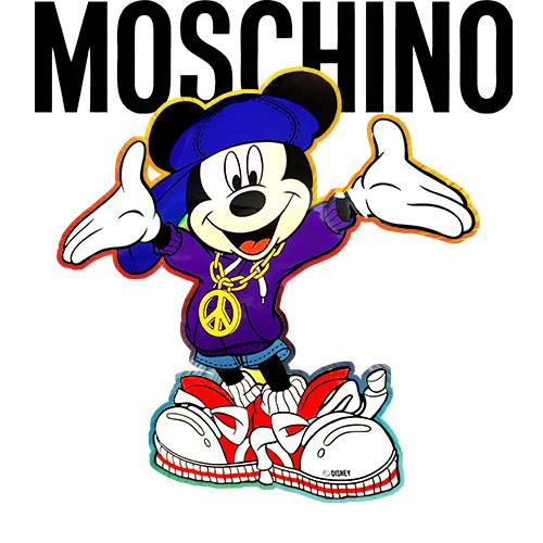 卡通动漫迪士尼米老鼠字母MOSCHINO潮牌印花矢量图服装裁片T恤烫图印花花型素材-POP花型网
