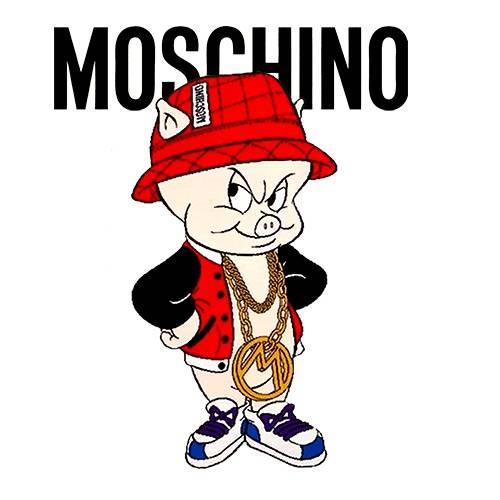 卡通动漫小猪字母MOSCHINO潮牌印花矢量图服装裁片T恤烫图印花花型素材-POP花型网