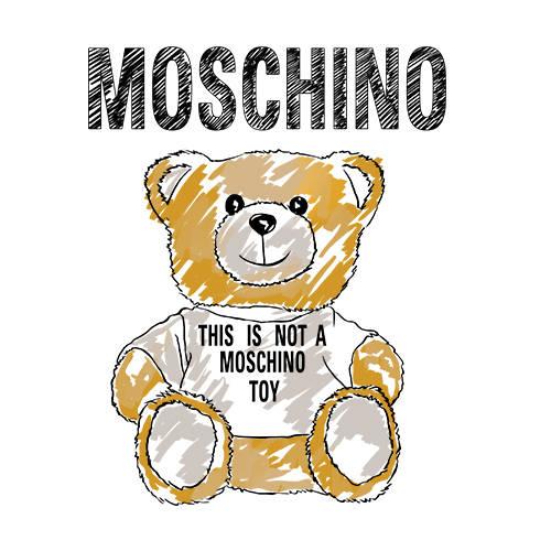 卡通动漫熊字母MOSCHINO潮牌印花矢量图服装裁片T恤烫图印花花型素材-POP花型网