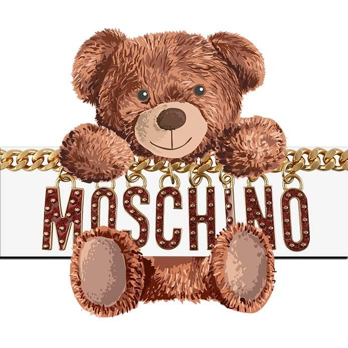卡通潮牌MOSCHINO熊链子拼接印花矢量图服装裁片T恤烫图印花花型素材-POP花型网