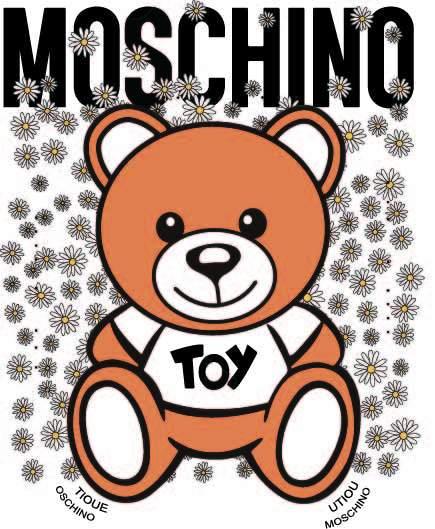 卡通潮牌MOSCHINO熊小邹菊印花矢量图服装裁片T恤烫图印花花型素材-POP花型网