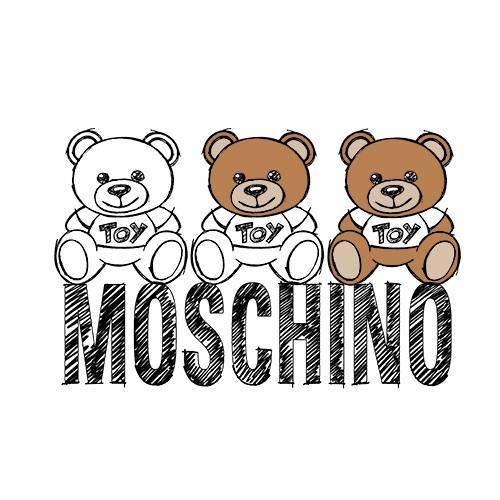 卡通潮牌MOSCHINO熊印花矢量图服装裁片T恤烫图印花花型素材-POP花型网