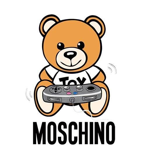 卡通潮牌MOSCHINO熊游戏机手柄印花矢量图服装裁片T恤烫图印花花型素材-POP花型网