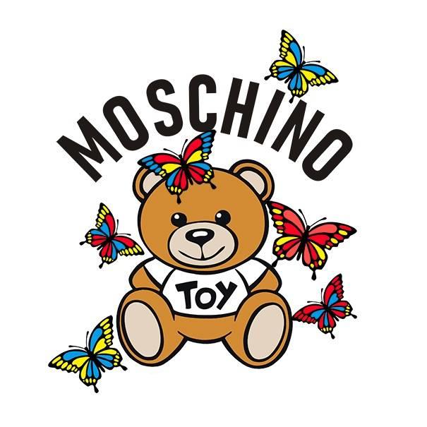 卡通潮牌MOSCHINO熊蝴蝶印花矢量图服装裁片T恤烫图印花花型素材-POP花型网