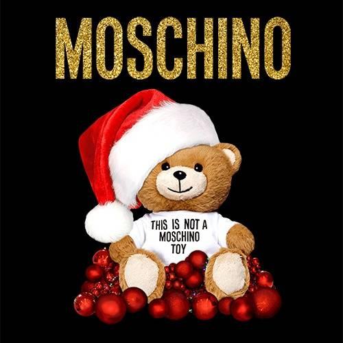 卡通潮牌MOSCHINO熊圣诞风印花矢量图服装裁片T恤烫图印花花型素材-POP花型网