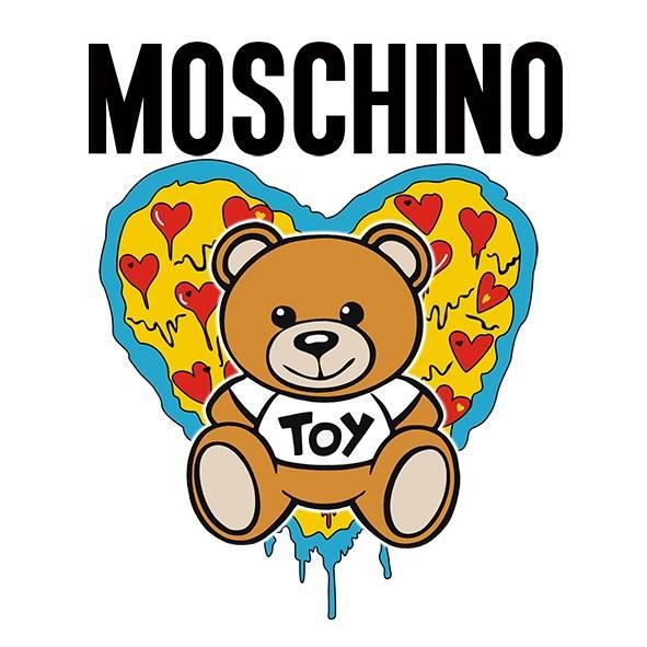卡通潮牌MOSCHINO熊爱心印花矢量图服装裁片T恤烫图印花花型素材-POP花型网