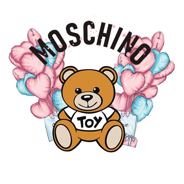 卡通潮牌MOSCHINO熊爱心气球印花矢量图服装裁片T恤烫图印花花型素材-POP花型网