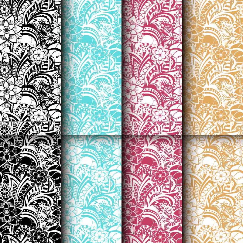 植物花纹印花矢量图服装纺织面料数码印花花型素材-POP花型网