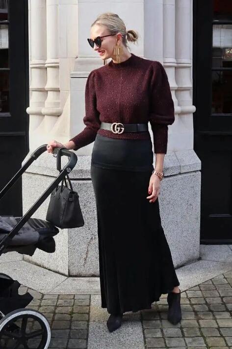 冬季最爱的一种穿搭,毛衣+半身裙,穿上温柔显气质,腿粗也不怕-POP花型网