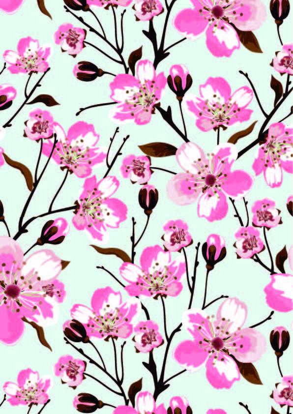 植物桃花花纹印花矢量图服装纺织面料数码印花花型素材-POP花型网