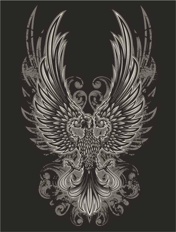 几何动物飞鹰印花矢量图服装裁片T恤烫图印花花型素材-POP花型网