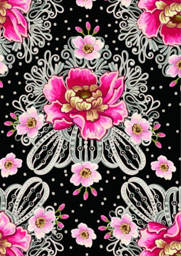 植物花朵牡丹花圆点拼接印花矢量图服装纺织数码印花花型素材-POP花型网